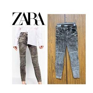 NWT Zara The Rider Black Tencel Moto Skinny Jeans